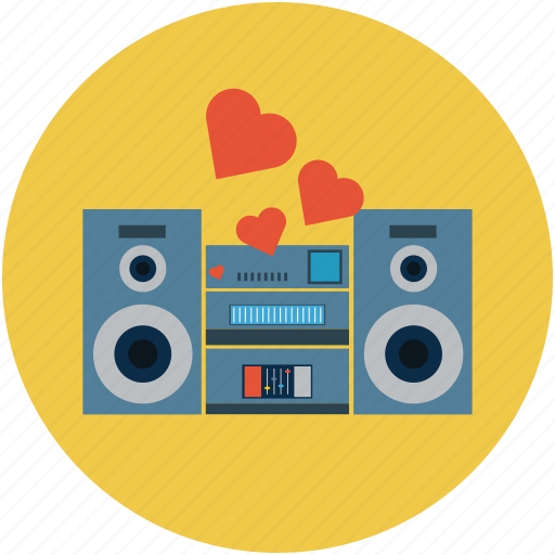 love music, romantic music, romantic songs, speakers with hearts, subwoofers, woofers icon