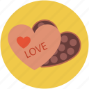candies in heart shaped box, chocolate box, heart candies, love celebrations, love concept, love sign icon