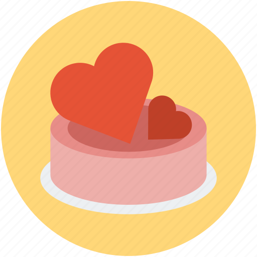 cake, cake with hearts, dessert, hearts on cake, valentine cake icon