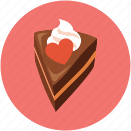 cake piece, cake piece with heart, chocolate cake, dessert, pastry icon