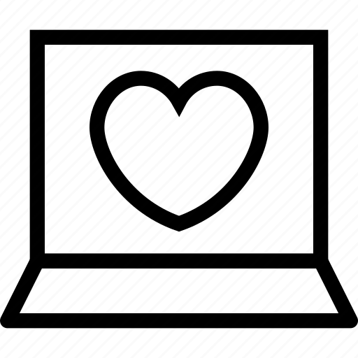 computer, favourite, heart, laptop, like, love icon icon