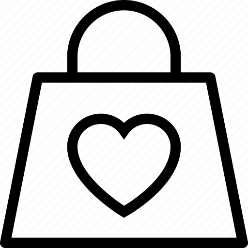 accessory, bag, clothes, clothing, heart, love icon icon