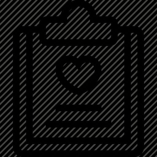 business, clipboard, data, document, file, love, paper icon icon