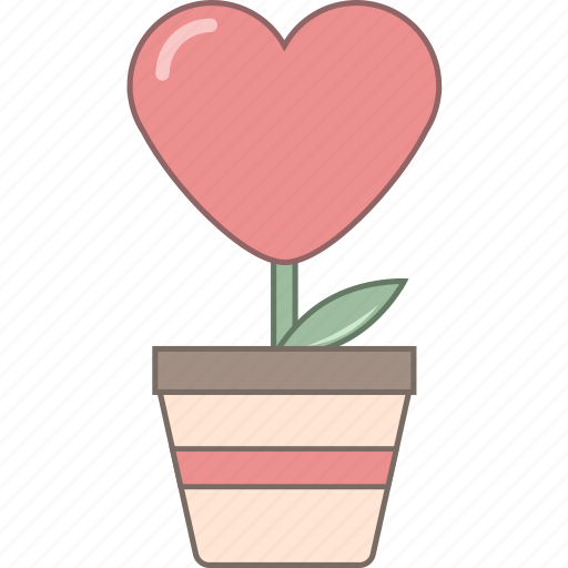 february, flower, heart, love, pot, romantic, valentine icon