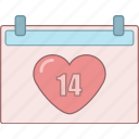 calendar, date, february, love, marriage, romantic, valentine icon