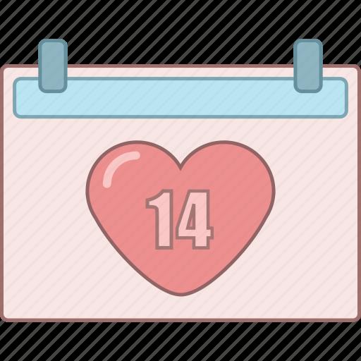 calendar, date, february, love, marriage, romantic, valentine icon
