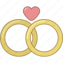 date, family, heart, love, marriage, rings, valentine icon