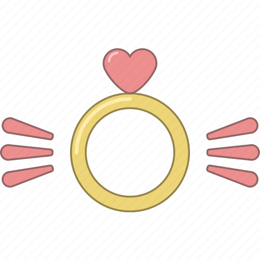 february, heart, love, marriage, ring, valentine, wings icon