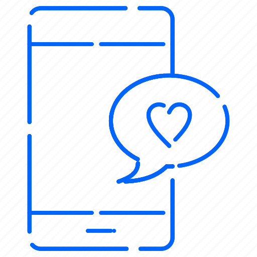 chat, heart, love, mobile icon