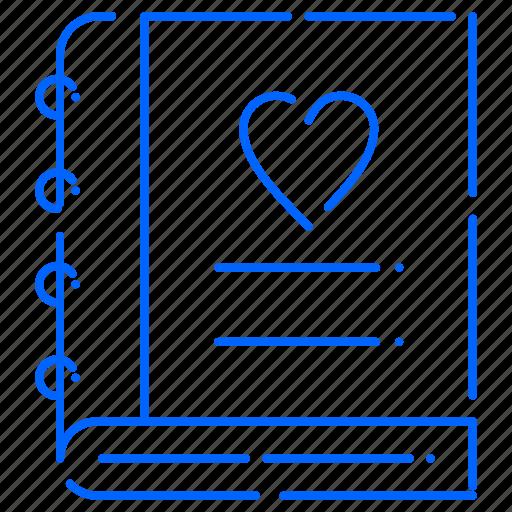 diary, heart, love icon