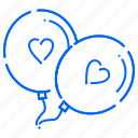 balloons, heart, love, valentine