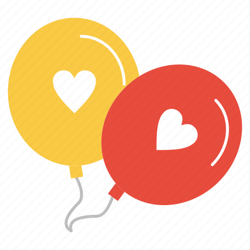 balloons, heart, love, valentine icon