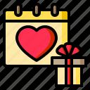 calendar, gift, heart, love, date