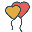 balloons, decoration, heart, love, valentine icon