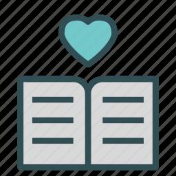 book, documenet, heart, love, reading icon