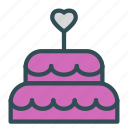 cake, heart, love, sweet, wedding icon