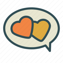 bubble, chat, heart, love icon