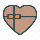 box, chocolate, heart, ribbon, valentine icon