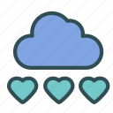 cloud, heart, love, rain, wheater icon