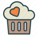 cupcake, heart, love, sweet icon