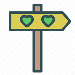 direction, heart, love, pole icon