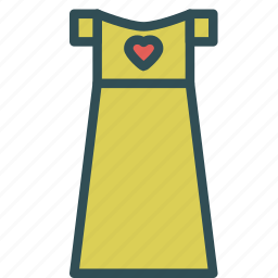 dress, gown, heart, love, woman icon