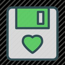 disk, floppy, heart, love, storage icon