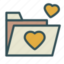 document, file, folder, heart, love icon