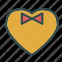 bow, gentleman, heart, love, tie icon