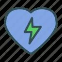 bolt, heart, lighting, love icon