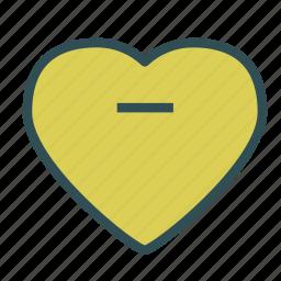 heart, love, minus, remove icon