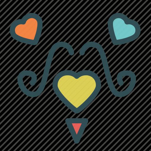 avatar, face, heart, love, moustache icon