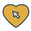 arrow, cursor, heart, love, pointer icon