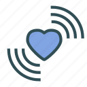 heart, love, signal, wave icon