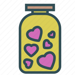container, heart, jar, love icon