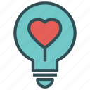 bulb, heart, light, love icon