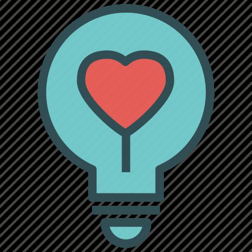 bulb, heart, light, love icon