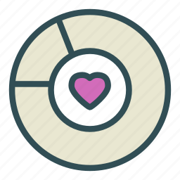 chart, heart, love, pie, statistic icon