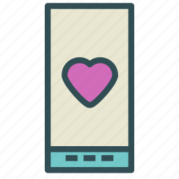 heart, love, phone, smart icon