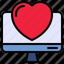 computer, heart, love, screen