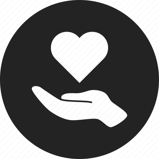 charity, hand, heart icon