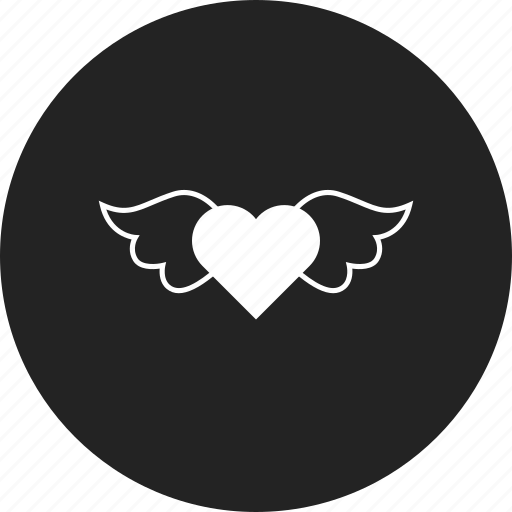heart, wings, with icon