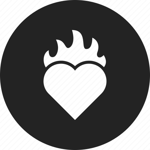 burning, fire, heart icon
