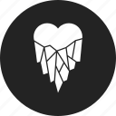 cold, frozen, heart, ice icon