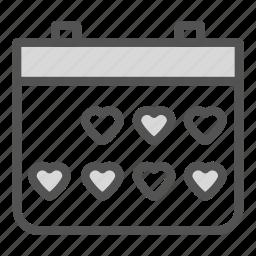 calendar, countdown, heart, love icon