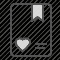 card, file, heart, love, ribbon, tag icon