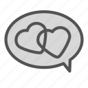 bubble, chat, heart, love icon