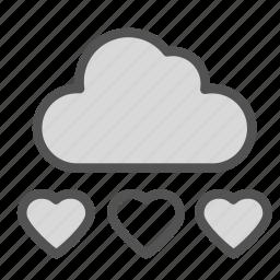 cloud, heart, love, rain, wheater icon