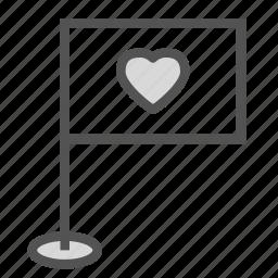 flag, heart, love, pole icon
