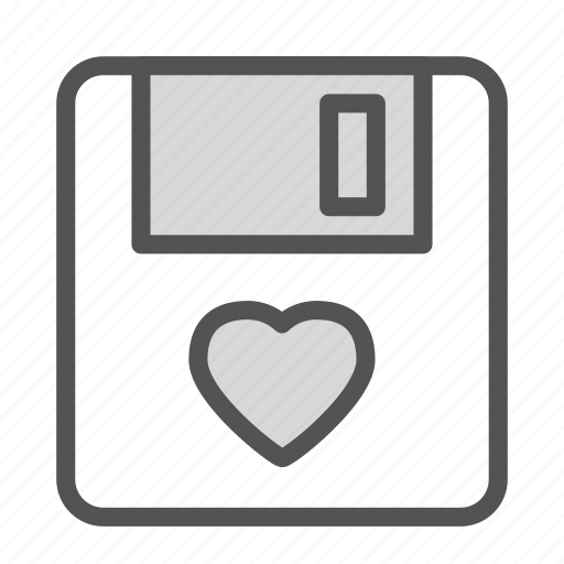 disk, floppy, heart, love, storage icon
